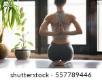 young woman practicing yoga... | Shutterstock . vector #557789446