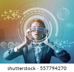 woman wearing smart glasses and ... | Shutterstock . vector #557794270