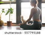Stock photo young attractive smiling woman practicing yoga sitting in half lotus exercise ardha padmasana 557795188