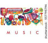 colorful music background.... | Shutterstock .eps vector #557795794