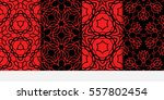 set of floral geometric lace... | Shutterstock .eps vector #557802454