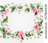 round frame made of pink and...   Shutterstock . vector #557804458
