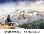 young woman traveler sitting...   Shutterstock . vector #557808310