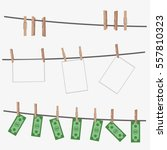Stock vector dollar bills hanging on rope attached with clothes pins money laundering concept photography 557810323