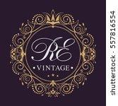 golden monogram initials.... | Shutterstock .eps vector #557816554