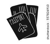 passport icon in black style... | Shutterstock .eps vector #557826910