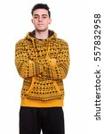 Small photo of Studio shot of young man standing with arms crossed isolated against white background isolated against white background
