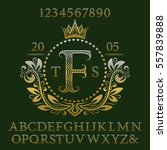 golden wavy patterned letters... | Shutterstock .eps vector #557839888