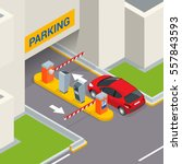 isometric parking payment... | Shutterstock .eps vector #557843593