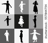 vector silhouettes of children  ... | Shutterstock .eps vector #557844754