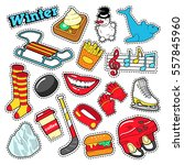 winter stickers  badges ... | Shutterstock .eps vector #557845960