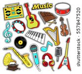 musical instruments doodle for... | Shutterstock .eps vector #557847520