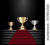 gold  silver and bronze trophy...   Shutterstock .eps vector #557851510