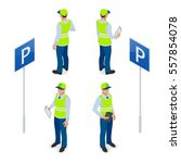 isometric parking attendant.... | Shutterstock .eps vector #557854078