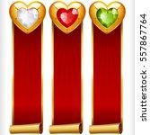 golden gem hearts and red... | Shutterstock .eps vector #557867764