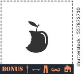 bite apple icon flat. simple... | Shutterstock .eps vector #557873710