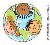 globe kids. international...   Shutterstock .eps vector #557875678