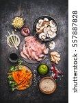 asian cooking ingredients for... | Shutterstock . vector #557887828