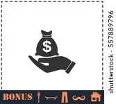 open palm hold money bag icon... | Shutterstock .eps vector #557889796