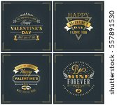 set of happy valentines day... | Shutterstock .eps vector #557891530