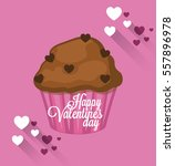 muffin with valentine's day text | Shutterstock .eps vector #557896978