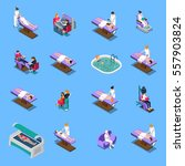 beauty salon isometric set with ... | Shutterstock .eps vector #557903824