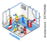 3d layout of plumber isometric... | Shutterstock .eps vector #557903980