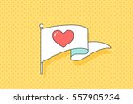 vintage flag with red heart... | Shutterstock .eps vector #557905234