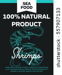 vector hand drawn sea food card.... | Shutterstock .eps vector #557907133