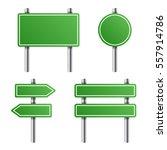 green road sign set on white...   Shutterstock . vector #557914786