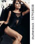 model in black bath. beautiful... | Shutterstock . vector #557918038