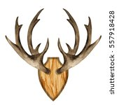 watercolor antlers on wooden... | Shutterstock . vector #557918428