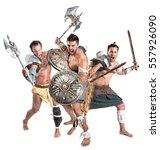 ancient warriors or gladiators... | Shutterstock . vector #557926090