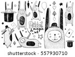 cute rabbit and magic set.... | Shutterstock .eps vector #557930710