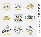 easter labels. vintage happy... | Shutterstock .eps vector #557935333