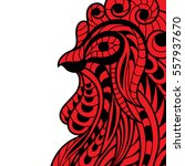 decorative fiery red rooster in ... | Shutterstock .eps vector #557937670