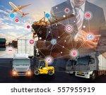 businessman is pressing button... | Shutterstock . vector #557955919