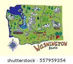cartoon map of washington state.... | Shutterstock .eps vector #557959354