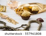 women's set of accessories and... | Shutterstock . vector #557961808