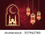 ramadan greeting card on red... | Shutterstock .eps vector #557962780