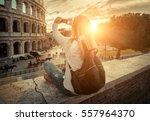 woman tourist selfie with phone ... | Shutterstock . vector #557964370