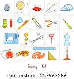 sewing and tailoring tools kit  ... | Shutterstock .eps vector #557967286