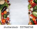 fresh vegetables on wooden... | Shutterstock . vector #557968768