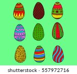 color easter eggs collection... | Shutterstock .eps vector #557972716