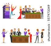 gamblers in chic casino in... | Shutterstock .eps vector #557973349