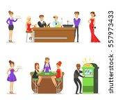 gamblers in chic casino in... | Shutterstock .eps vector #557973433