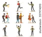 burglars  pickpockets and... | Shutterstock .eps vector #557974093