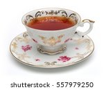 Black Tea In Antique Tea Cup...