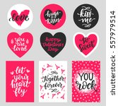 happy valentines day typography ... | Shutterstock .eps vector #557979514