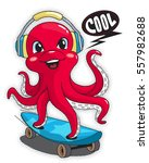 cute octopus wearing headphones ... | Shutterstock .eps vector #557982688